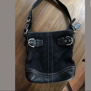 black leather cross body purse coach